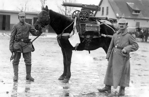 German soldiers, horse and captured machine gun Maxim M1910