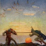 Battle of Mordred and Arthur. N.K. Wyeth, 1922