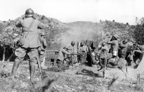 Serbian artillery and soldier on a donkey, 1917