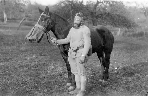 The soldier and his horse in gas masks, 1918