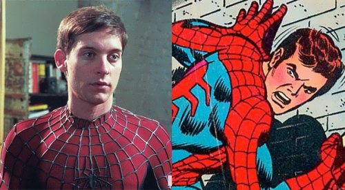 Tobey Maguire and the original image of Spider-Man in the comics