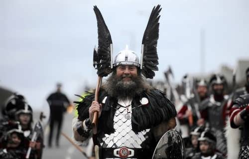 A man dressed like a Viking Warrior