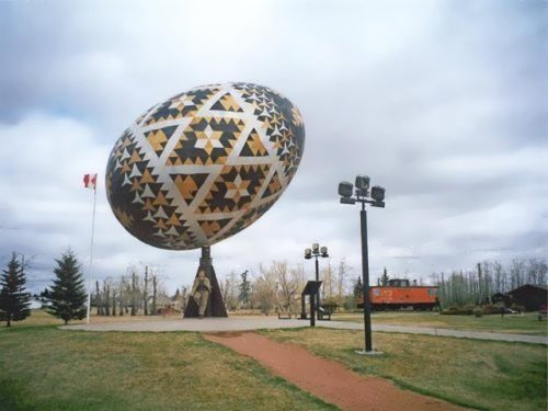 The world's largest Easter egg made of aircraft wreckage in honor of the Canadian Mounted Police