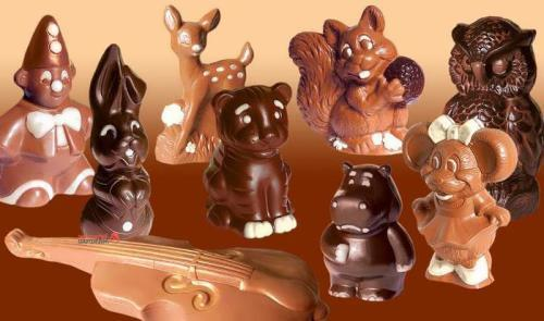 Cute figures made of chocolate