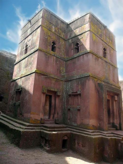 Church of St. George in Lalibela was built in the 13th century and dug into the ground at 25 meters