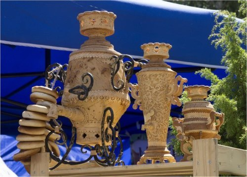 Birch bark samovars
