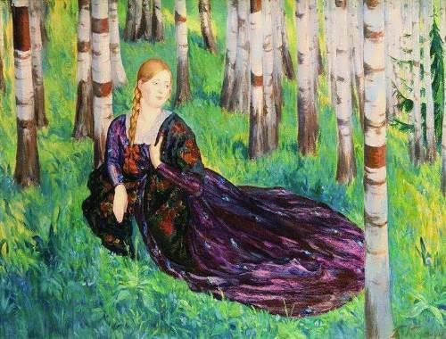 Boris Kustodiev. In birch grove