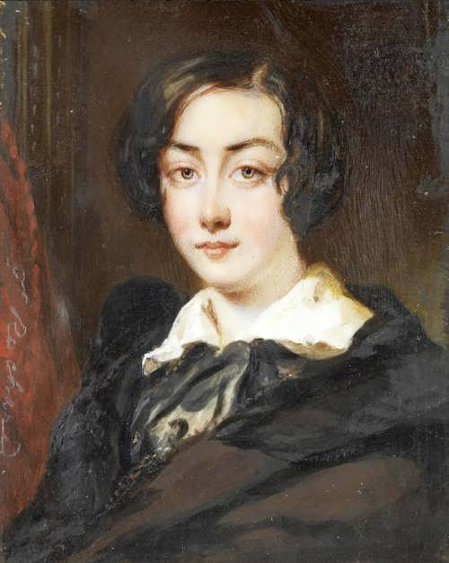 Portrait of George Sand. Francois Theodore Roshar