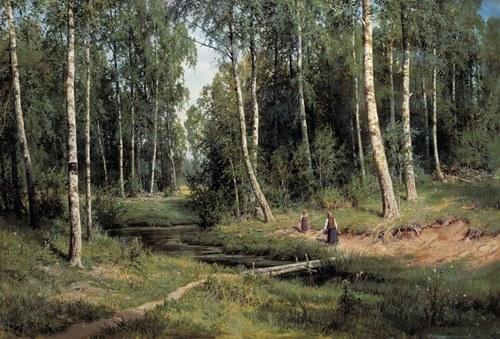 Ivan Shishkin. Creek in the birch forest, 1883