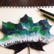 Pictures on maple leaves by Joanna Wirazka