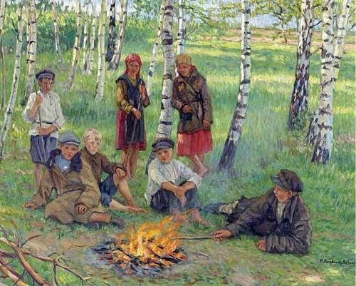 Nikolai Bogdanov-Belsky. Near the fire