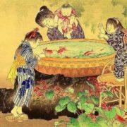 Shoun Yamamoto (1870-1965). Gold Fish - Children's Play