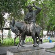 The monument to Hodja Nasreddin in Bukhara, Uzbekistan