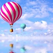 Bright balloons in the sky