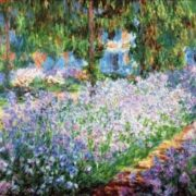 Claude Monet - A flower bed with irises in the garden of the artist, 1900