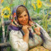 Fedot Sychkov. Among sunflowers. 1928