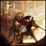 Gladiator fights with a lion