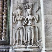 Heavenly apsara dancers on the walls of Angkor Wat
