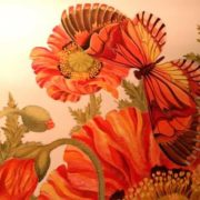 Lily Kulenenok. Poppies and butterfly