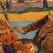 Paul Gauguin. Portrait of Vincent van Gogh drawing sunflowers, 1888