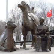 Two camel and a soldier