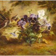 Fontaine Marie Jenny. Spatzen zwischen Blumen