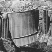 Nearly completed Hoover Dam before flooding