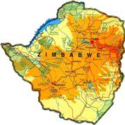 Physical map of Zimbabwe