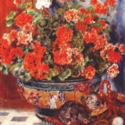 Pierre-Auguste Renoir. Geraniums and cats, 1881