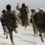 Soldiers of the Afghan opposition are returning after the battle in the north of Afghanistan, 2001
