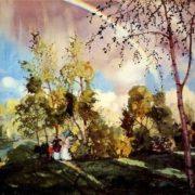 Somov Konstantin. Landscape with a rainbow. 1915