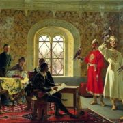 Alexander Litovchenko. The Italian ambassador Calvucci paints the favorite Falcons of Tsar Alexei Mikhailovich. 1889