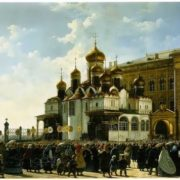 Baudry Carl-Friedrich. The religious procession at the Annunciation Cathedral in the Moscow Kremlin. 1860