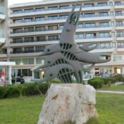 Monument to dolphins. Rhodes, Greece