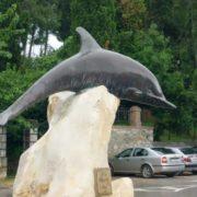 Monument to the dolphin in Rovinj, Croatia