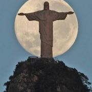 Moon and Christ the Redeemer in Brazil