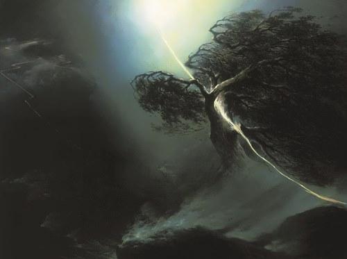 Oak crushed by lightning. Allegory on the death of Maksim Vorobiev's wife
