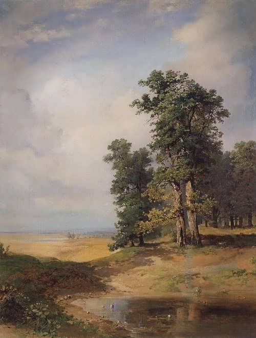 Savrasov. Summer landscape with oak trees