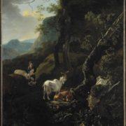 Adam Pynacker. Een herderin met vee in een bergachtig landschap