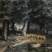 Flock of sheep in the forest. Shishkin