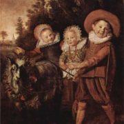 Frans Hals. Three childeren with a goat cart