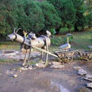Goat and ostriches in Sochi. Sculpture by A. Khalafyan