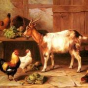 Hunt Edgar - Goat And Chickens Feeding In A Cottage Interior