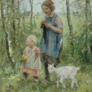Jan Zoetelief Tromp. Children meet goat