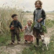 Jan Zoetelief Tromp. Children walking through a meadow