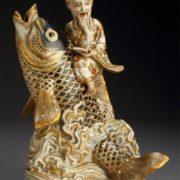 Kinko riding a giant carp, ceramics of Satsuma province, Meiji period, 1870-1880