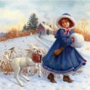 Little girl with lamb