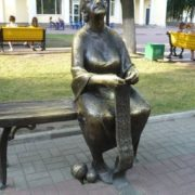 Monument to grandmother in Belgorod, Russia
