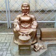Monument to grandmother in Komsomolsk, Poltava region, Ukraine