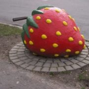 Monument to strawberry in Viljandi, Estonia